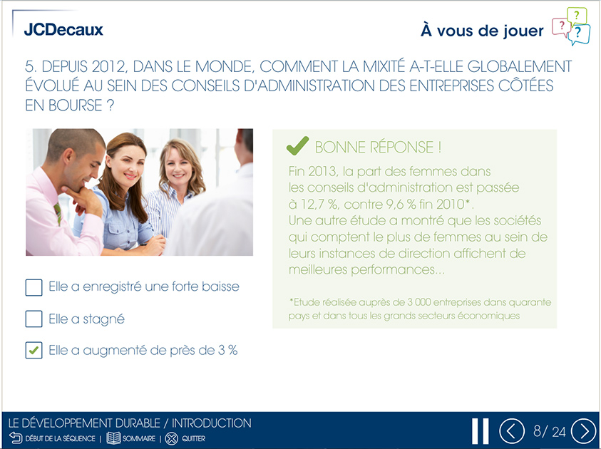 Projet de Digital Learning, JCDecaux, réalisé par Dowino