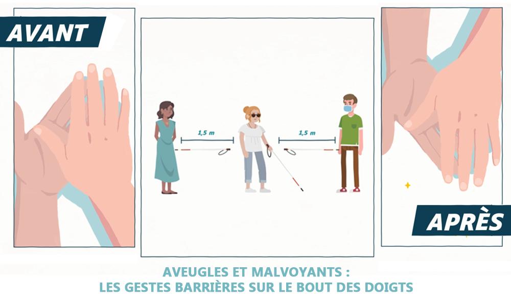 Projet de film pédagogique santé, SENSGENE les gestes barrières pour les personnes souffrant d'un handicap visuel, par DOWINO