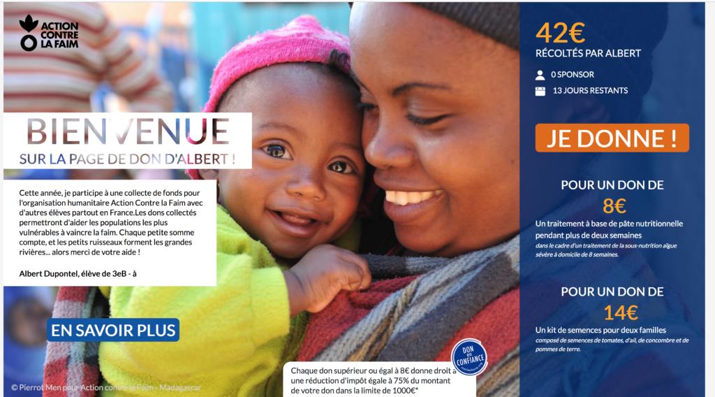 Outil de blended learning réalisé par DOWINO, Je m'engage contre la faim permet la mobilisation (dons) et la sensibilisation ACF
